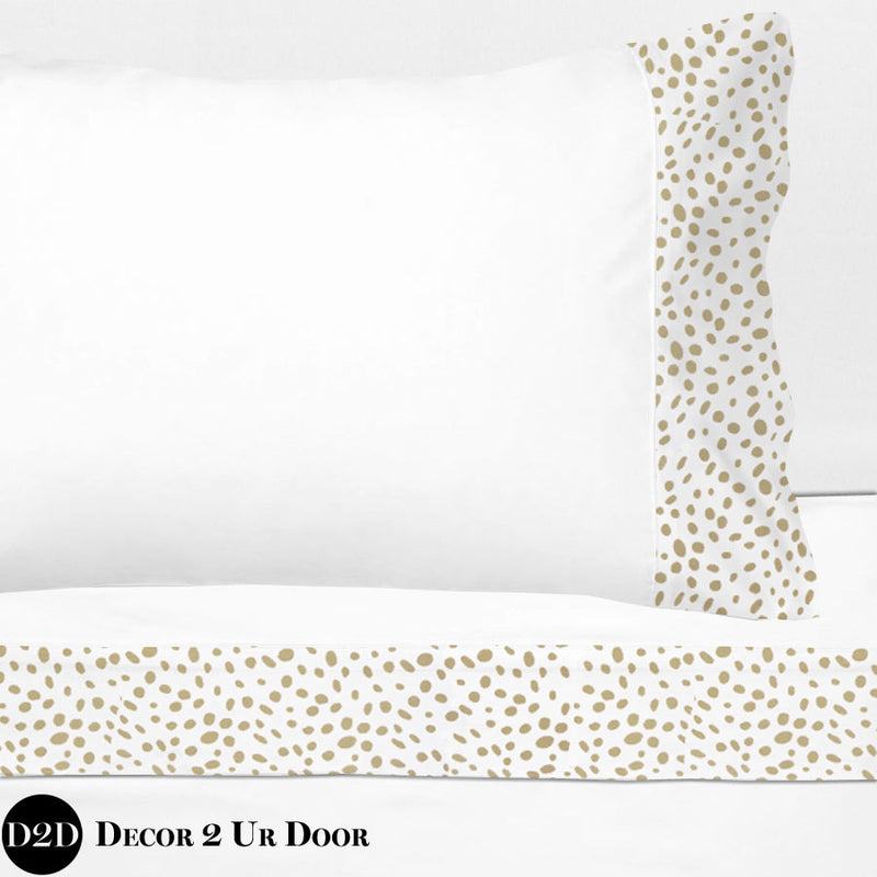 Gold Dalmatian Print 100% Cotton Banded Sheet Set