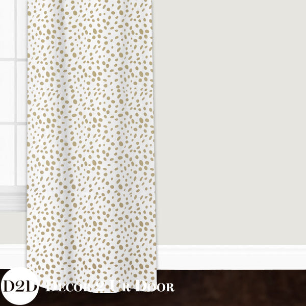 Gold Dalmatian Print Custom Window Curtain/Closet Panel