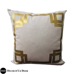 Gold Glitz Greek Key Border Square Pillow Cover