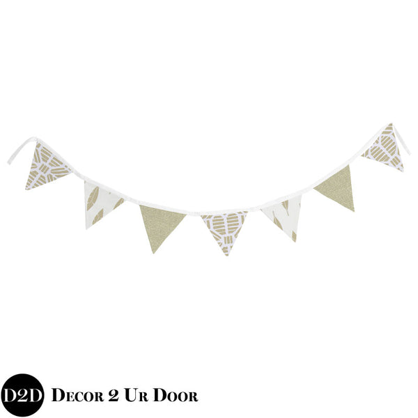 Gold Metallic Glitz & Feathers Wall Fabric Pennant Banner
