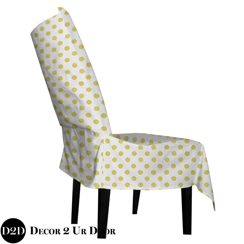 Metallic Gold Polka Dots Fabric Dorm Chair Cover with Storage Pocket