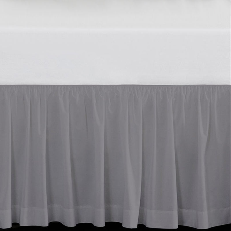 "Solid Grey 15"" Drop Bed Skirt"