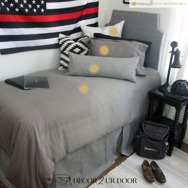 Grey & Black Guys Dorm Bedding Set