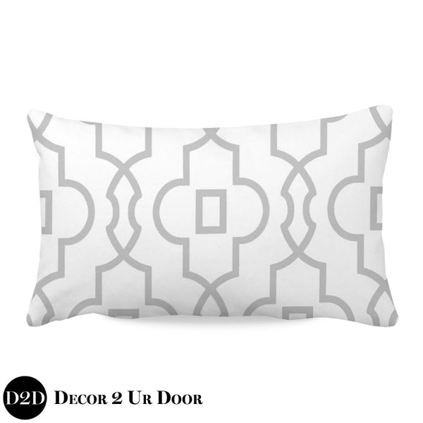 Grey & White Lumbar Nursery Throw Pillow Cover