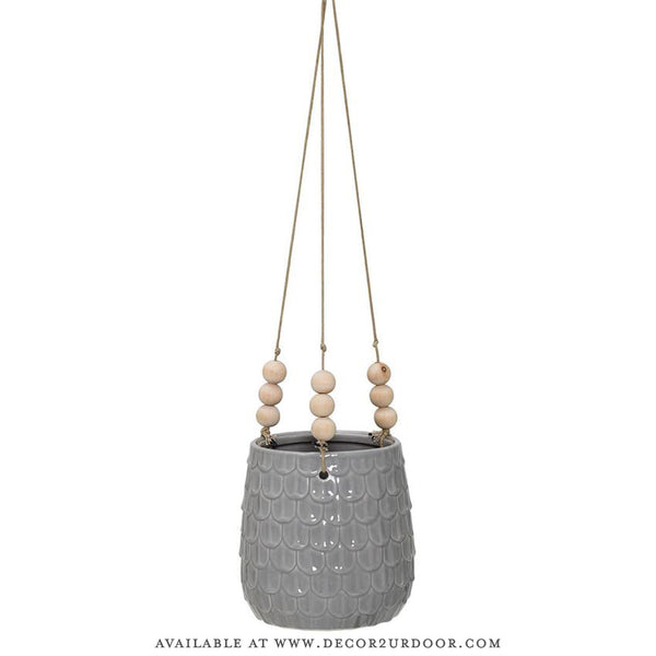 Grey Ceramic Hanging Flower Pot