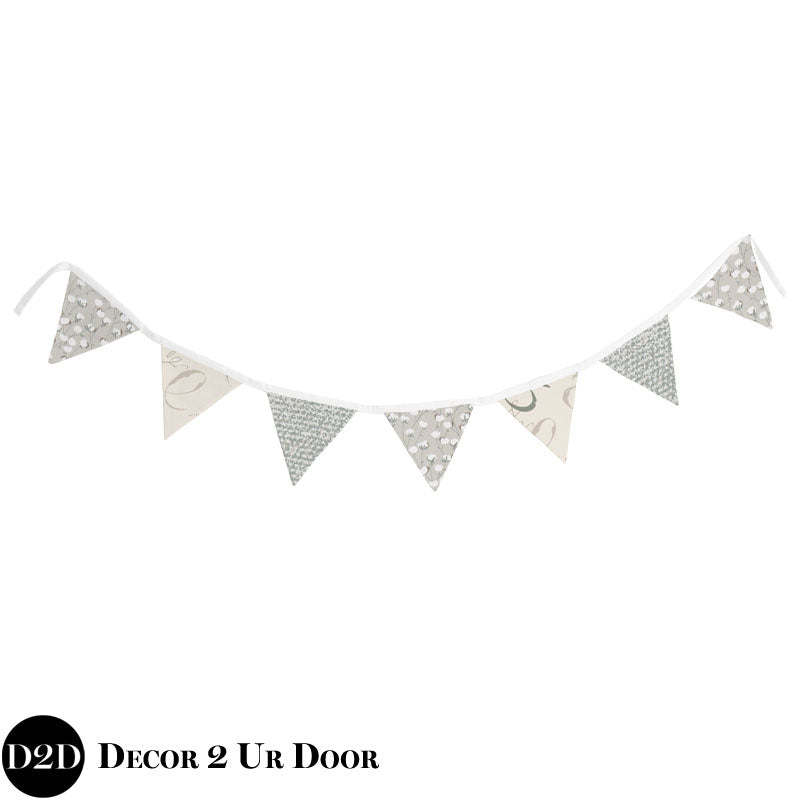 Grey Cotton, White & Ivory Wall Fabric Pennant Banner