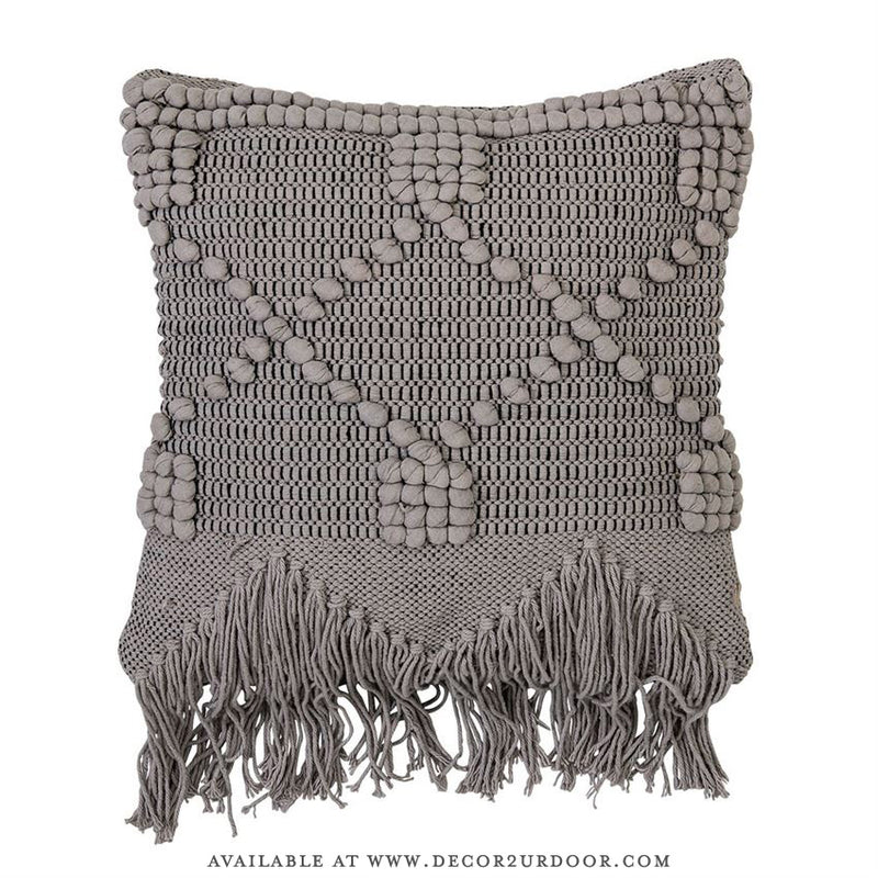 Grey Textured Tassel Fringe Cotton Square Pillow