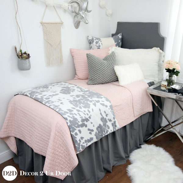 Blush Pink & Grey Cowhide Designer Bedding Collection