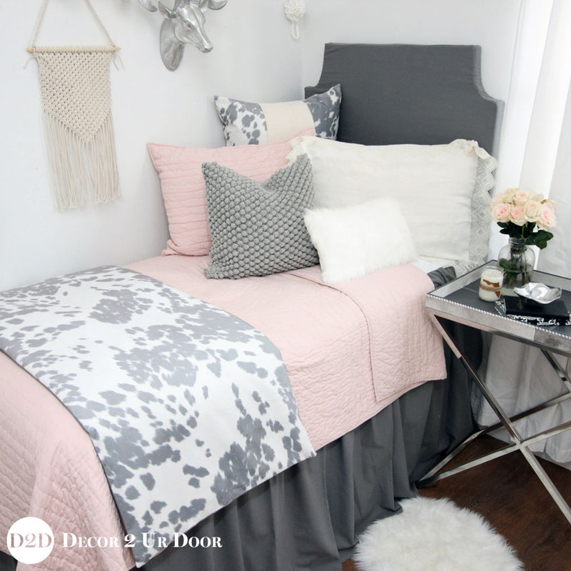 Grey Cowhide Print Bed Scarf