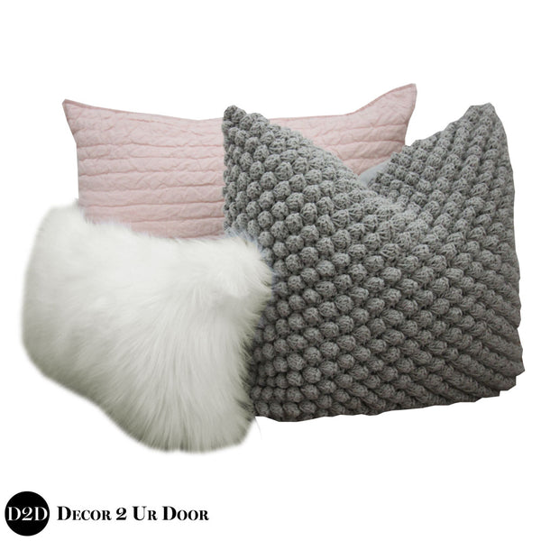 Blush Pink, Grey & Faux Fur Pillow Pile