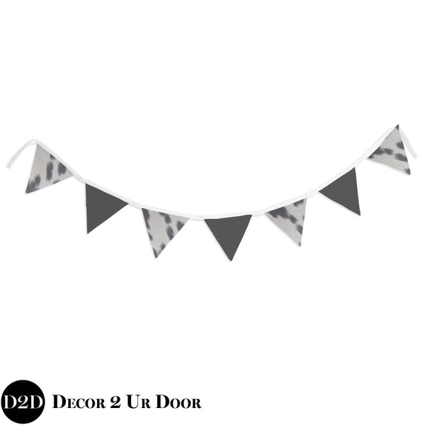 Grey Cowhide Wall Fabric Pennant Banner