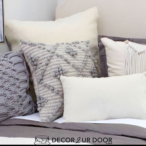 Grey Diamond Textured Square Pillow Cover