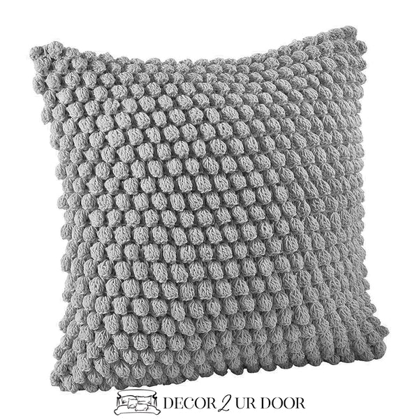Grey Crochet Dot Pom Pom Square Pillow Cover