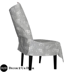 Grey Moroccan Elephant Print Dorm Chair Cover with Storage Pocket