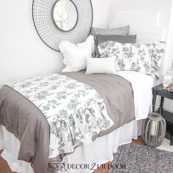 Grey Floral Dorm Bedding Set
