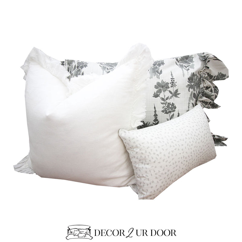 Grey Floral Pillow Pile
