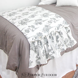 Grey Floral Ruffled Bed Scarf