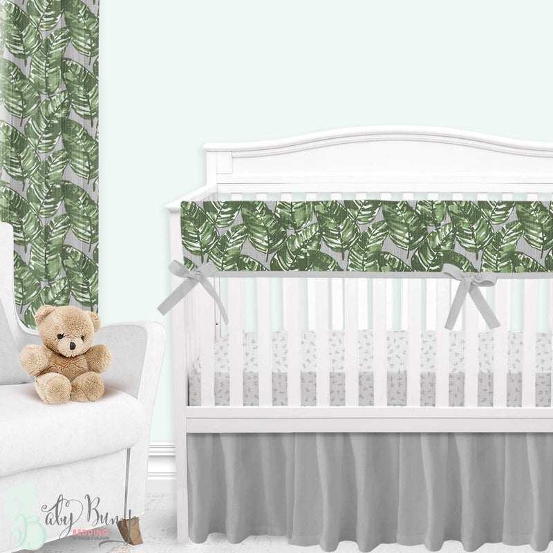 Grey & Green Palm Leaf Gender Neutral Crib Bedding Set