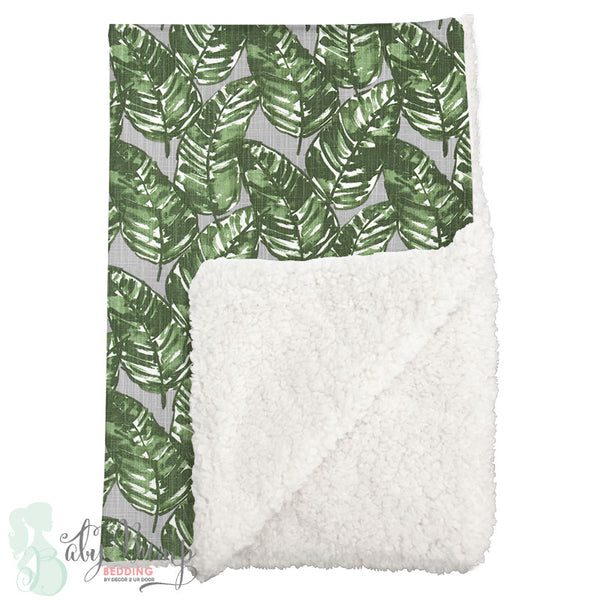Grey & Green Leaf Sherpa Baby Blanket