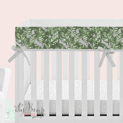 Grey & Green Leaf Baby Crib Rail Cover