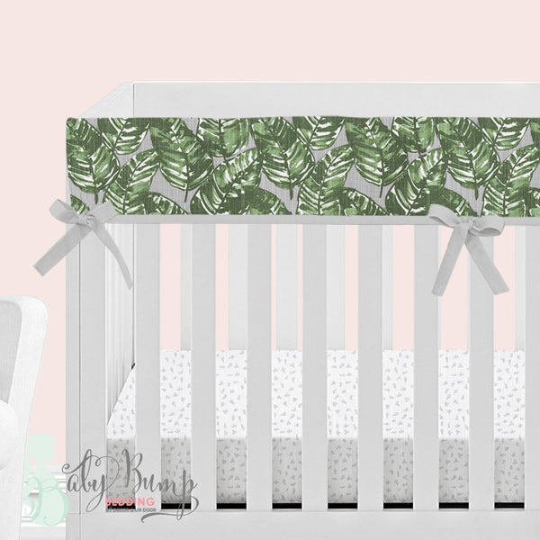 Grey & Green Leaf 2-in-1 Crib Bumper/Rail Cover