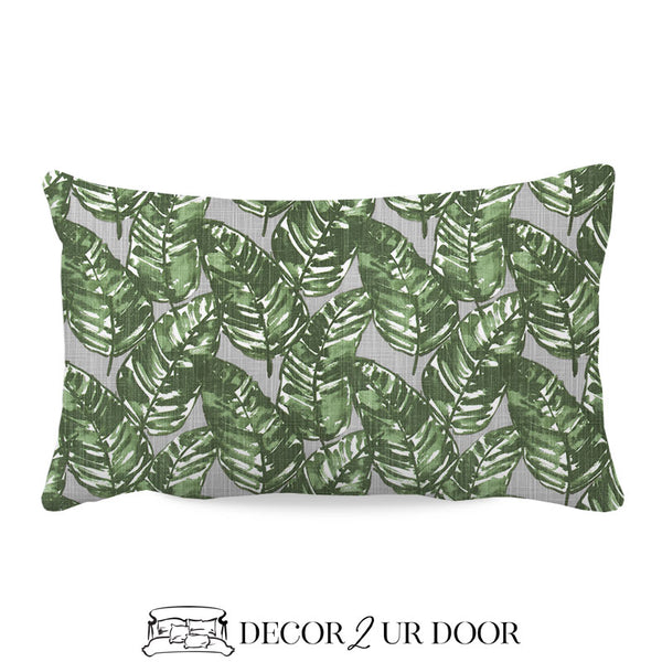 Grey & Green Leaf Lumbar Nursery Throw Pillow Cover
