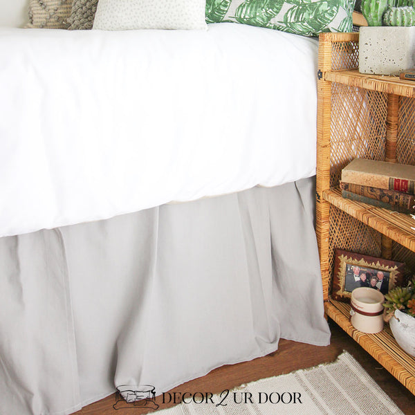 Solid Grey Dorm Bed Skirt & Headboard Bundle