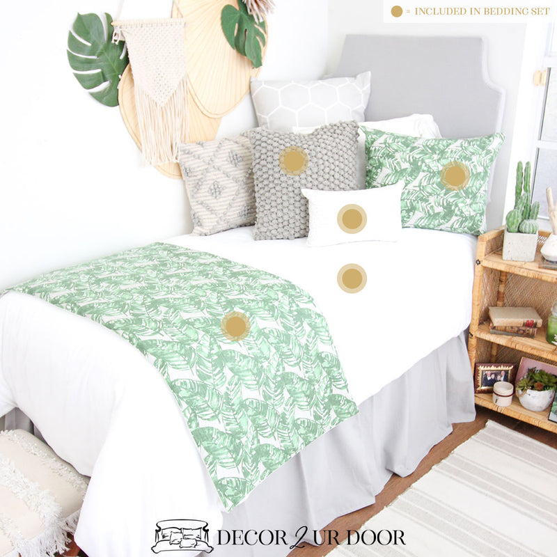Grey and Green Leaf Dorm Bedding Set
