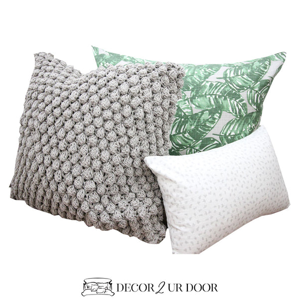 Grey and Green Leaf Pillow Pile
