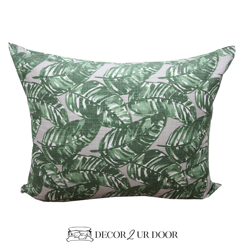 Grey and Green Leaf Designer Sham