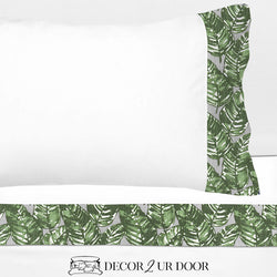 Grey and Green Leaf 100% Cotton Banded Sheet Set