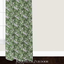 Grey & Green Leaf Closet + Window Curtain