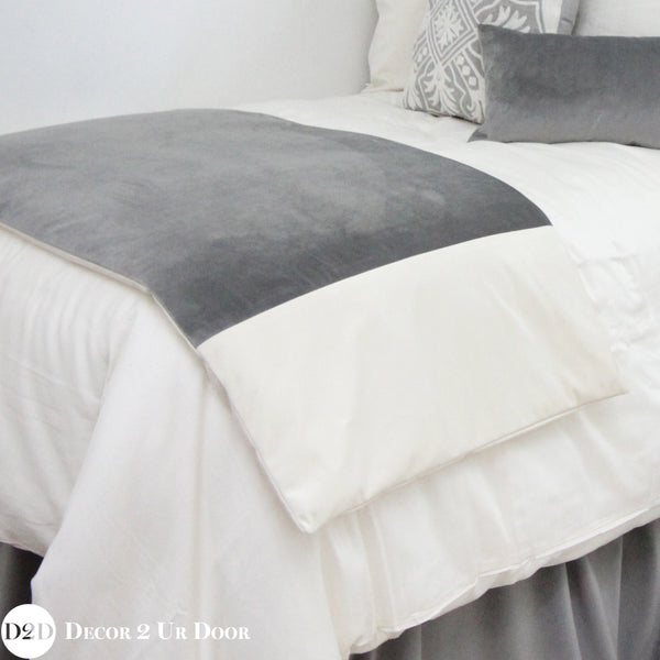 Grey & Ivory Velvet Bed Scarf