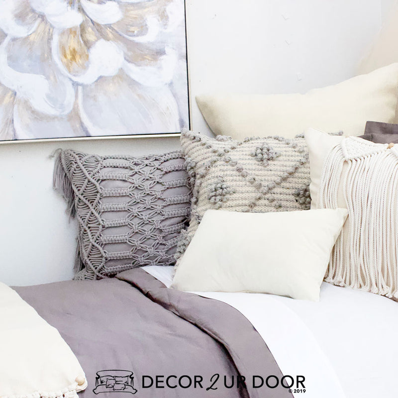 Grey and Natural Macrame Designer Bedding Collection