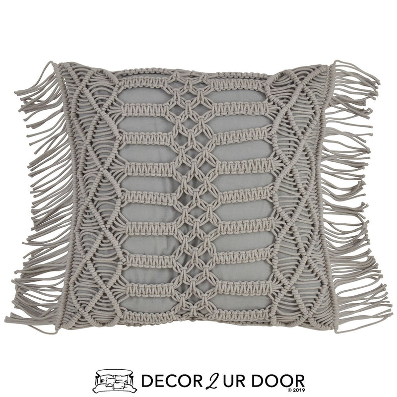 Grey Macrame Fringe Square Pillow Cover
