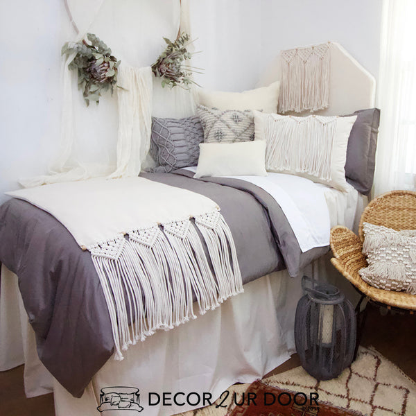 Grey Macrame Dorm Bedding Set