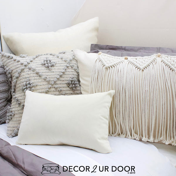 Grey and Natural Macrame Pillow Pile