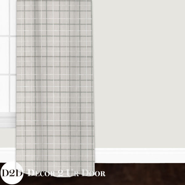 Grey Plaid Closet + Window Curtain