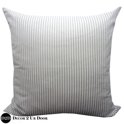 Grey & White Ticking Stripe Euro Pillow Cover