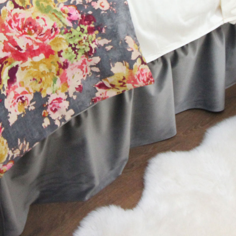 Solid Grey Velvet Extra Long Dorm Bed Skirt