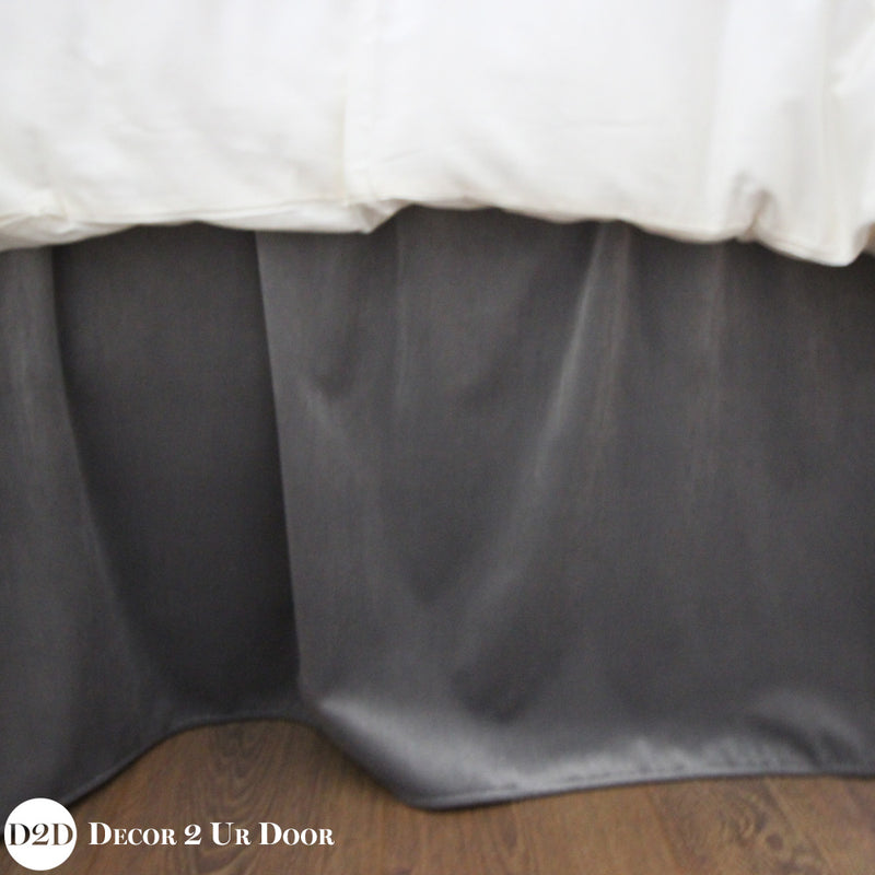 "Solid Grey Velvet 15"" Drop Bed Skirt"