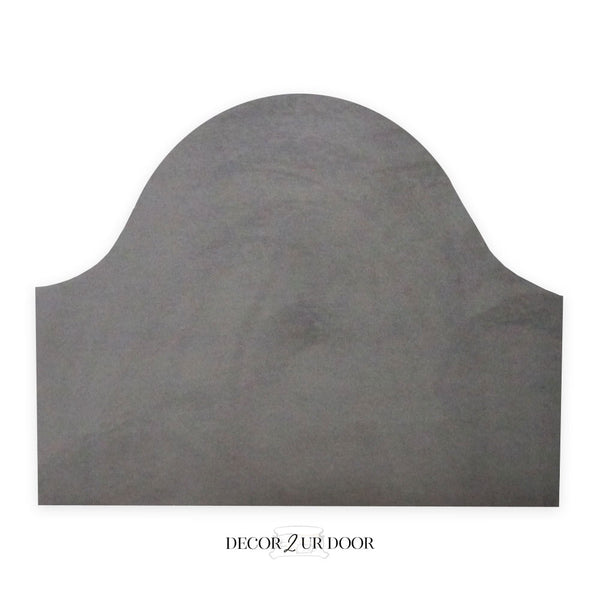 Solid Grey Velvet Padded Fabric Headboard