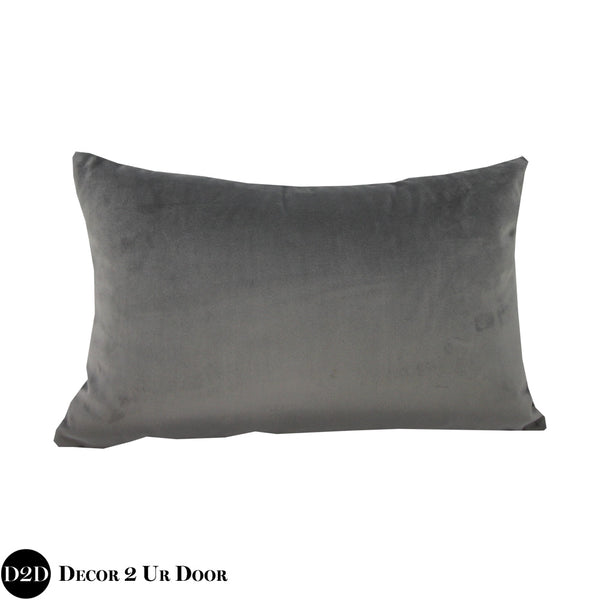 Grey Velvet Lumbar Pillow Cover