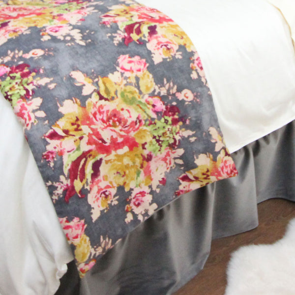 Grey Velvet & Multicolor Floral Bed Scarf