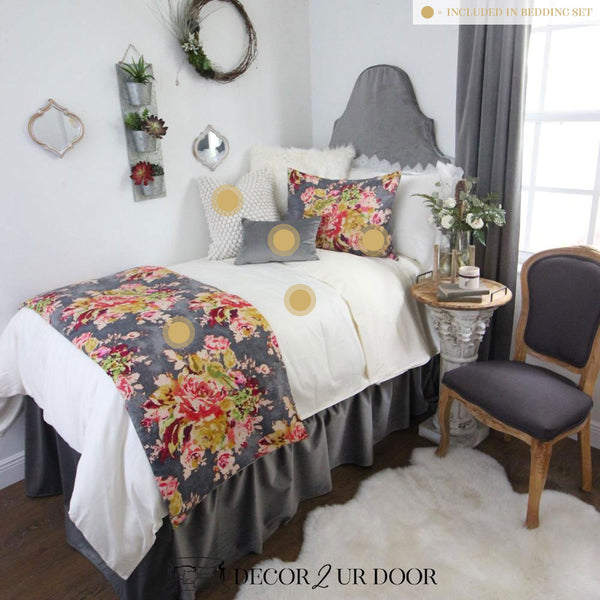Floral Velvet Dorm Bedding Set