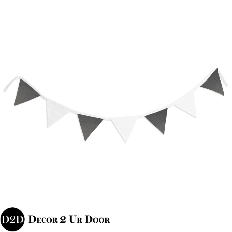 Grey Velvet & White Wall Fabric Pennant Banner
