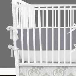 Solid Grey & White 2-in-1 Crib Bumper/Rail Cover