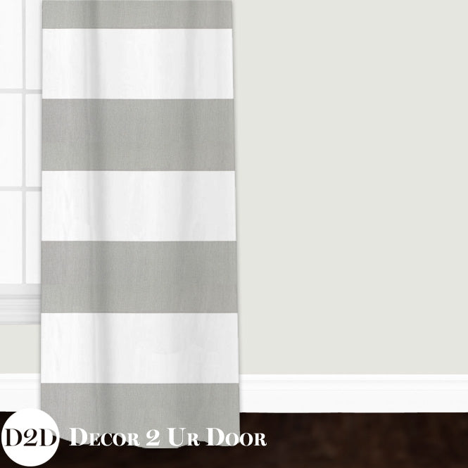 Grey & White Stripe Closet + Window Curtain