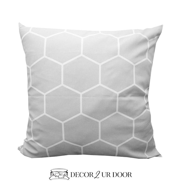 Grey Geometric Euro Pillow Cover