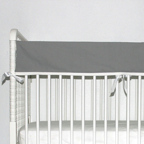 Grey and White Baby Crib Rail Cover
